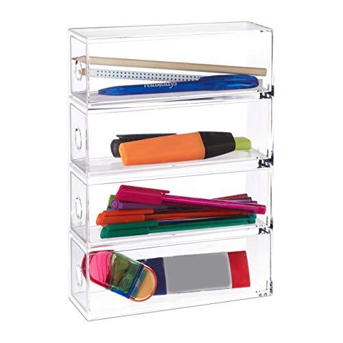 Relaxdays Make Up Organizer Acryl, 4 Schubladenboxen, hochkant & quer, Sortierkasten, HBT: 25x17,5x6,5 cm, transparent