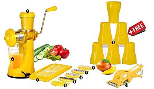 Magikware Manual Fruit Vegetable Hand Juicer,6 In 1 Slicer Dicer Grater, 6 Plastic Glasses & Multi Cutter With Peeler Kitchen Combo(Yellow,Set Of 15)
