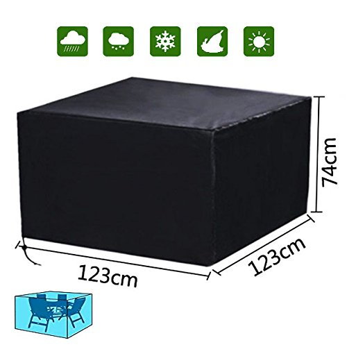 Diossad Patio Protective Furniture Cover Black Waterproof Garden Patio Set Cover Table and Chair Set Cover 123 x 123 x 74cm