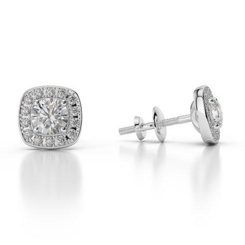 Or blanc 18carats/CT G-H/VS sertie de diamants taille ronde Halo Boucles d'oreilles Agder-1011