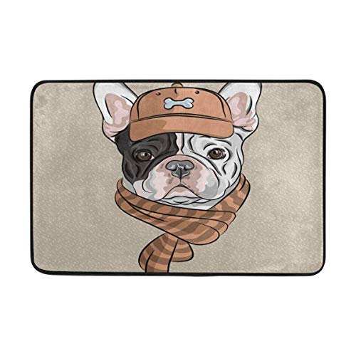 Hipster Dog French Bulldog Breed in Brown Cap -