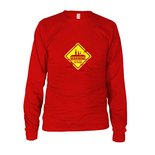 Do not Feed The Zombies - Herren Langarm T-Shirt, Größe: XXL, Farbe: rot (Halloween-kostüm Later 28 Days)