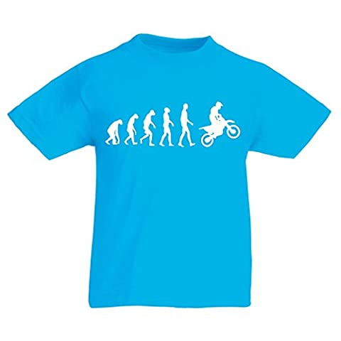 T shirts for kids Evolution motorcyclist! (3-4 years Light Blue White)