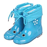 LYXFZW,Rain Boots For Kids,girls,Rubber Wellington Boots Children With Soft Plush Warm Ankle Cute Waterproof Non-Slip Boys Easy Wipe Blue Frog Removable For Outdoor School Garden