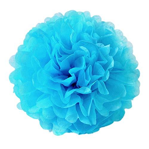JZK 10 x Pompoms Pompons, 25cm Durchmesser, Seidenpapier blume Dekoration für Wohnzimmer Hochzeit Geburtstag Babyparty Kinder Party Weihnachten Silvester, blau (Dekorationen Blau Hochzeit)