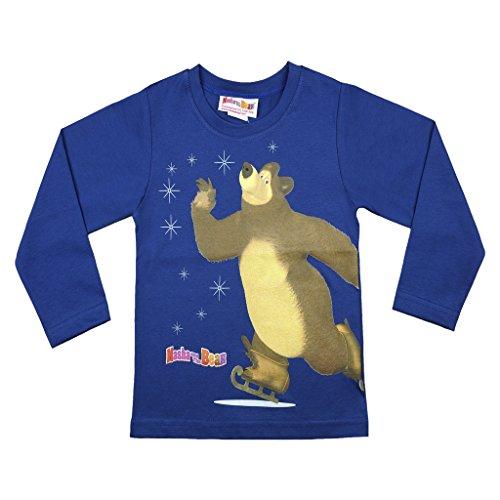 Jungen Langarm-Shirt Mascha und der Bär, Oberteil aus 100% Baumwolle in GRÖSSE 92, 98, 104, 110, 116, 122, Longsleeve, Sweat-Shirt, lang-ärmliges T-Shirt in Blau mit süßem Motiv Size 122 -