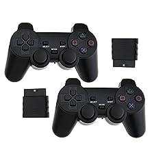 2 Manette PS2 de jeu sans fil Contrôleurs à double vibration NOIR pour PS2 Joypad Gamepad Consoles