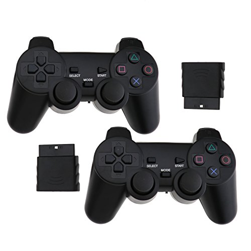 2Pcs Wireless Dual Vibration Gamepad Controller für Playstation 2 PS2 Schwarz