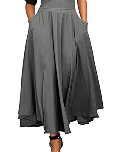 High-slit Skirt (Bohai Women A-line Pleat Skirt Normal Lack High Waist Long Swing Pleat Front Slit Belted Maxi Skirt)