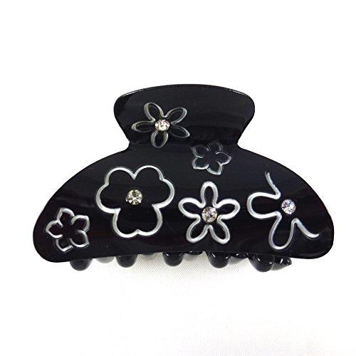 rougecaramel - Accessoires cheveux - Pince cheveux motif fleur et incrustée de cristaux - noir