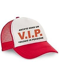 pazza idea Cappello Cappellino Uomo Visiera Rosso con VIP Vecchio in  Pensione pensionato 6731e3eb55d7