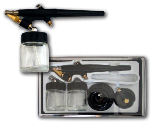Preisvergleich Produktbild Profi-Airbrush-Pistole 138 / Single-Action-Funktion / 0,8mm-Düse / Inkl. 2 Glas-Tanks, Schlauch, Adapter, Pipette / Arbeits-Druck: 1 - 3,4 Bar / Lösungsmittel-beständige Dichtungen