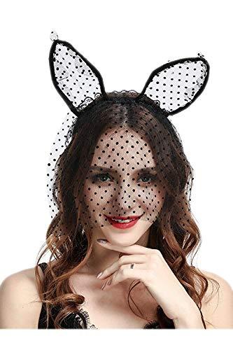 d Süße Elegant Stylish Headwear Haar Band Haarband Niedlichen Festlich Bekleidung Stirnband Spitzen Schleier Maske Lange Hasen Ohren Kopfbedeckung 2 Packung ()