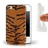 eSwish Coque Gel TPU de Coque pour Apple iPhone 4/4S / Rayures Tigre Design/Motif...