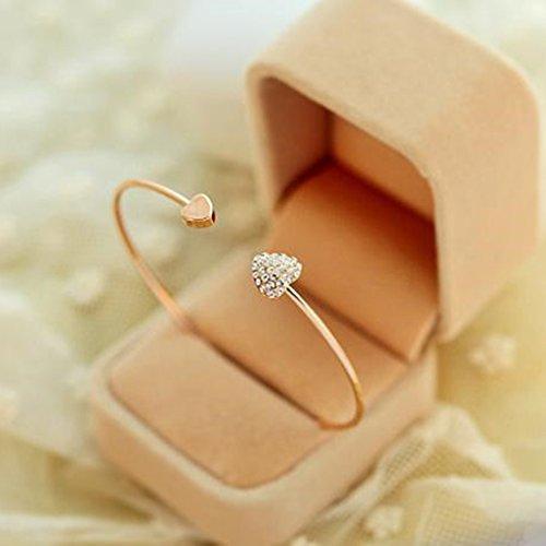 Elistelle Silber Schmuck doppelte Liebe Armband voll von schrecklichen geformten Öffnung doppelt vergoldet Armreif der Herzen