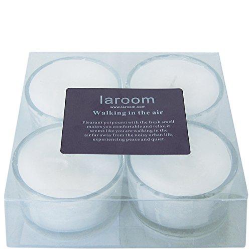 Laroom 13186-Set 4Kerzen Duft Fleur de Lotus mit Porta-velas aus Glas, Weiß