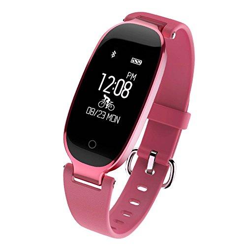 Tiptiper Rastreador de fitness para mujer y niñas Monitor de frecuencia cardíaca, Sueño y actividad multimodo Podómetro impermeable Reloj inteligente para iOS 7.0 Android 4.3 - Rosa Roja