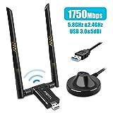 Adattatore WiFi USB,1750Mbps Dual Band Chiavetta WiFi,USB 3.0 Wireless Dongle WiFi 5dBi Ricevitore 2 Antenne per PC/Desktop/Laptop Compatibile con Windows 10/8/7 / Vista/XP/Mac OS