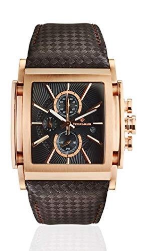 9da4f6d0b6d3 Yves Camani ESCAUT de Hombre Reloj de Pulsera Cronógrafo analógico de Cuarzo  de Oro Rosa Caja