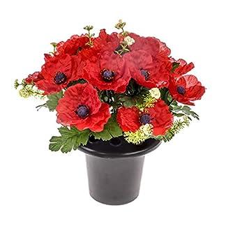CBI Maceta de Flores Artificiales, diseño de Amapolas, 28 cm, Color Rojo