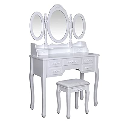 Songmics Luxurious 3 mirrors Dressing Table Set with 7 drawers and 1 free stool 3D floral decorations for bedroom RDT91W - inexpensive UK dressing table shop.