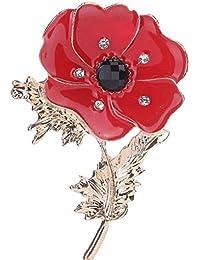 Bobury Les Femmes de Fleur de Pavot Broche Fille Robe de mariée Clips  écharpe Bijoux Collier 5da9cb32c03