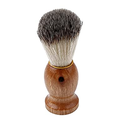 VWH Men Shave Brush Facial Beard Shaving Razor Brush Cleaning Grooming For Home Travel With Wood Handle