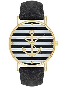 Damenuhr Maritim Segler Farbe: Schwarz Gold Style: Anker Matrosen Sailor Matrosenstreifen Matrosenkostüm Streifen...