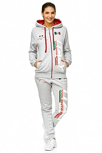 Damen Sportanzug Jogginganzug Italien 100% Baumwolle (M=Fällt Groß aus, Grau) (Hoodie Power-kinder)