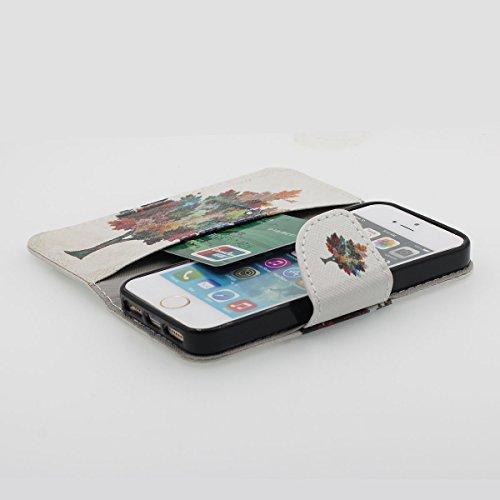 Foliant Flip PU Case Leder Brieftasche Hülle Schutzhülle Tasche für Apple iPhone 5 / 5S / SE / 5G Schwarz, Karte Halter Stand Funktion, Hübsch Gedruckt Malerei Bild Stil - The Lion King A5