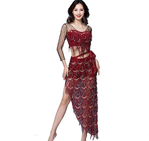 SMACO Kleider Cocktail,Bauchtanzkostüm für Erwachsene, Halloween & Partykostüme Kleid rot schwarz grün,Red,M