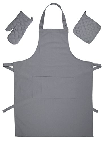 """Zollner®set di 3 utensili/accessori per la cucina composto da 1 presina da cucina, 1 guanto da forno e 1 grembiule, colore grigio, direttamente dallo specialista in gastronomia, serie """"paolo"""""""