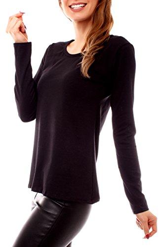 Fragola Moda Damen Basic Cotton Langarmshirt Rundhals Schwarz
