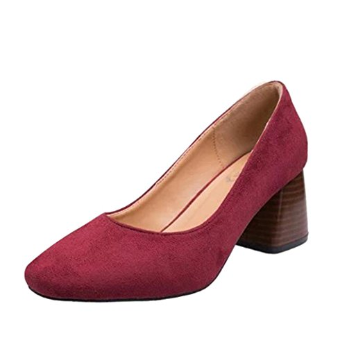 (FEITONG Damen Klassisch Pumps Suede Spitze Schuhe Blockabsatz High Heels Wildleder Schuhe Herbst Schuhe)