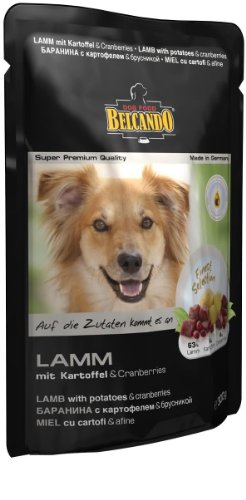 BELCANDO Cordero y patatas con arándanos comida húmeda para perros (Bolsitas)