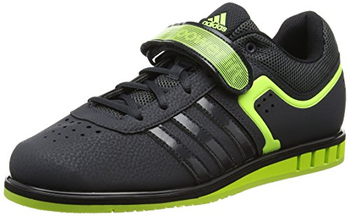 adidas Powerlift2 - Scarpe Sportive Indoor Unisex adulti, colore Grigio (Dark Grey/Solar Yellow/Core Black), taglia 48 2/3 EU