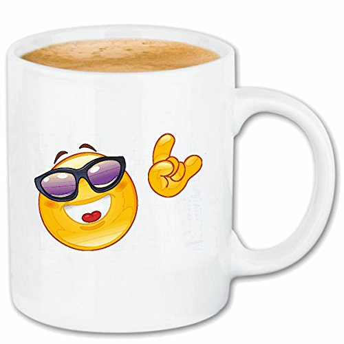 Reifen-Markt Kaffeetasse Cold Smiley MIT Sonnenbrille ZEIGT Peace Smileys Smilies Android iPhone Emoticons IOS GRINSE Gesicht Emoticon APP Keramik 330 ml in Weiß