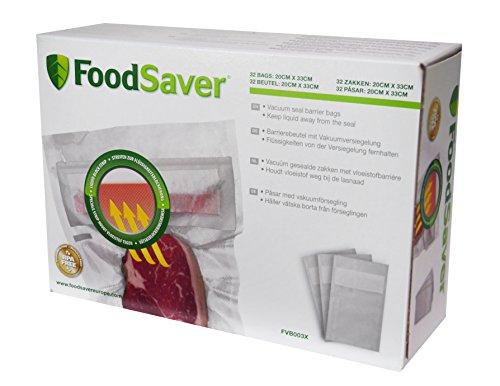 Foodsaver 32 sacchetti impermeabili termosigillabili per macchina per sottovuoto alimenti, senza bpa, 20 x 33 cm