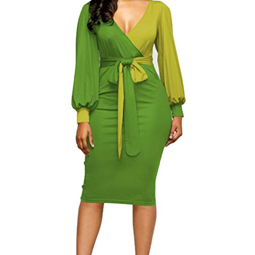 Longra Damen Elegant Etuikleid Bodycon Kleid Pencil Kleider Bleistiftkleid Wickelkleider im Colour-Block-Design Damen V-Ausschnitt Langarm Kleid Knielang Abendkleid Business Kleid (Green, XL) (Brautkleider Design)