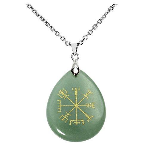QGEM grün Aventurin Guidepost Kompass Vegvisir schmuck Anhänger Halskette Natur Edelstein Gravierte Alte Nordeuropa Viking Rune mit Kette 60cm