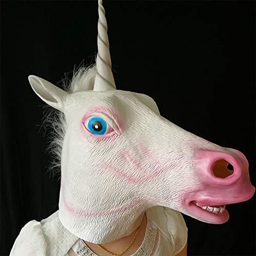 ShiRan Maschera in Lattice Testa di Cavallo, Zebra, Cavallo Scuro, Cavallo Marrone Scuro, Unicorno , 4 Stili,per Halloween Natale, Pasqua, Festa in Costume Adulti (Unicorno)