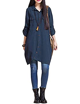 Romacci Vestido Largo de Mujer Vestido Suelto Blusa Botones de Dobladillo Irregular Blanco / Morado / Azul Oscuro