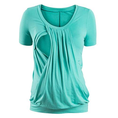 Damen Mutterschaft Plissee Stillen Tops Doppelschicht Still Front Party Stil Shirt Eingewickelt Kurzarm Sommer Mode Schwangerschafts Oberteile Freizeit Unifarben Blusen (Color : Grün, Size : 2XL) -