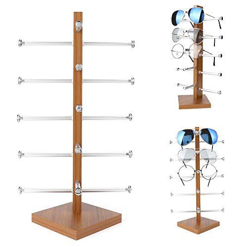 Nannday Sonnenbrille Rack Holder, 5Pairs Holzständer für Brillengestell Brillen