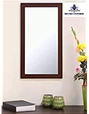 Seven Horses Frame Brown Sunmica Finish Fiber Wood Wall Mirror, Dressing Mirror Solid Brown Water Resistant Synthetic Fiber Wood Made (14.5X26.5 Inch)