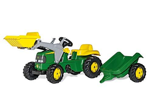 Rolly Toys 023100 rollyKid John Deere | Trettraktor mit Lader und Anhänger | Traktor mit Motorhaube zum Öffnen | Schauffellader/Frontlader für Kinder ab 2,5 Jahren | Farbe grün