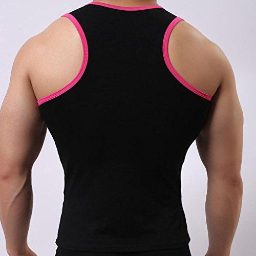 Amlaiworld Uomo elastico Canotta Top casual palestra muscolare camicie Nero