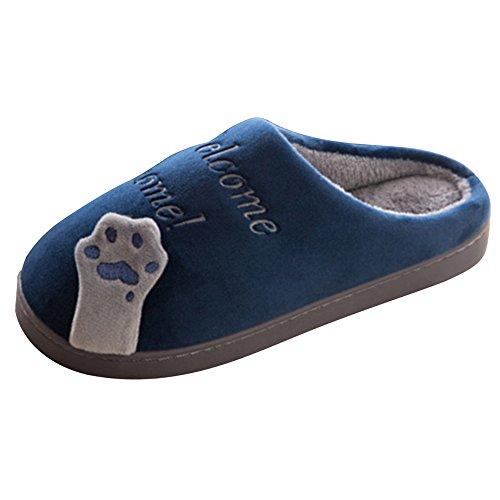 Pantofole Da Donna Jackshibo, Pantofole Invernali Da Uomo Cuddly Pantofole Peluche A Forma Di Cagnolino Da Casa Blu