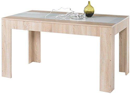 Stella Trading Major Esstisch, Holzdekor, Sonoma Eiche Absetzung Glass Weiß, 138 x 80 x 74,6 cm