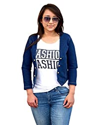 Aarti Collections Stylish 3/4 Sleeve Dark Blue Denim Jacket for Women